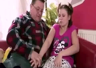 Dark-haired teen in pink fucks her own dad