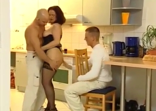 Two family members fuck this MILF