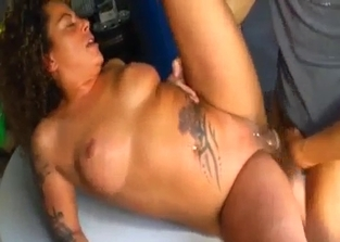 Curly MILF fucking her hung son outdoors