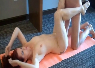 Redheaded mommy does yoga and fucks her son
