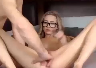 Teen in glasses fucking her hung brother