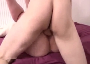 Short-haired brunette mom fucking her son