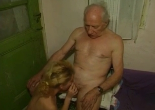 Teen blows her big-dicked senile-looking dad