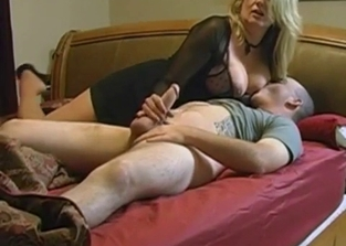 Mommy helps her son with morning wood