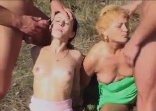 Outdoors incest foursome with pee drinking