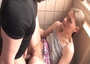 Skirt-wearing blonde face-fucked by her brother