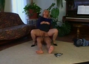 Rough-looking blonde MILF fucked by her son
