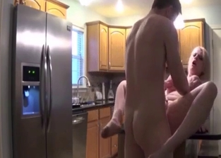 Smooth pussy blonde fucking her brother